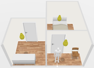 Three  dimensional  illustration  of  the  person's  indoor location.